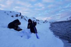 Nemendur við sýnatökur í Febrúar 2019.